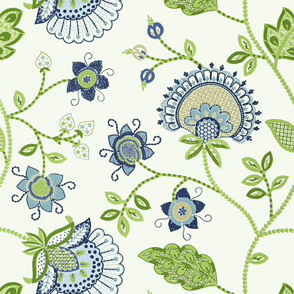 Thibaut Portofino Wallpaper in Blue and Green