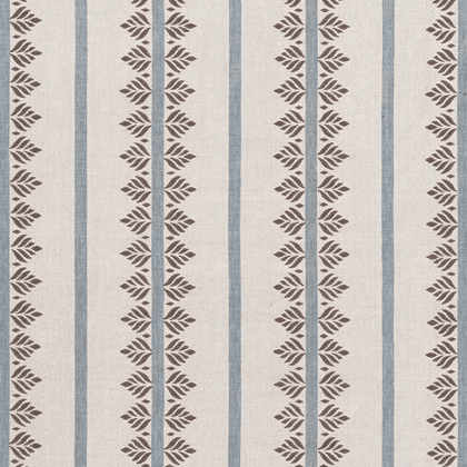 Anna French Fern Stripe Linen in Brown and Slate