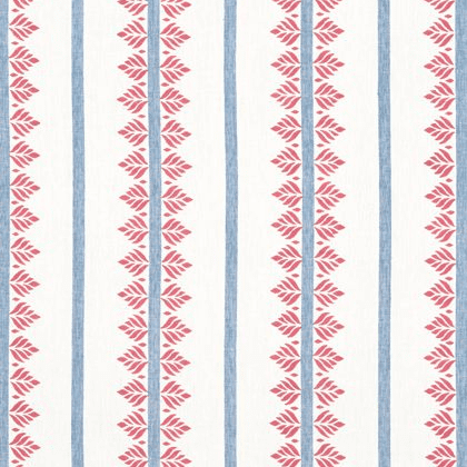 Anna French Fern Stripe Linen in Red and Blue