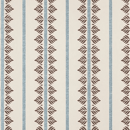 Anna French Fern Stripe Wallpaper in Brown and Slate