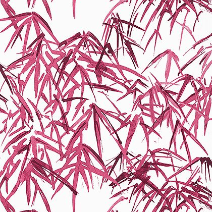 Anna French Kyoto Leaves Wallpaper in Fuchsia