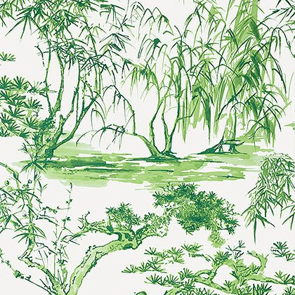 Anna French Kyoto Wallpaper in Emerald Green
