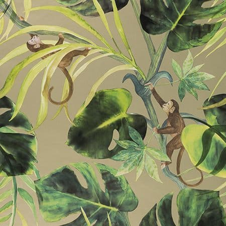 Clarke & Clarke Monkey Business Wallpaper in Gilver