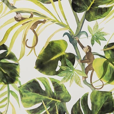Clarke & Clarke Monkey Business Wallpaper in Natural