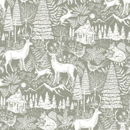 Forest Extra Wide Christmas Oilcloth in Lichen
