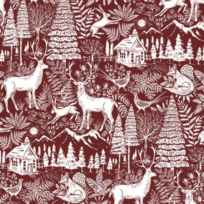 Forest Extra Wide Christmas Oilcloth in Red