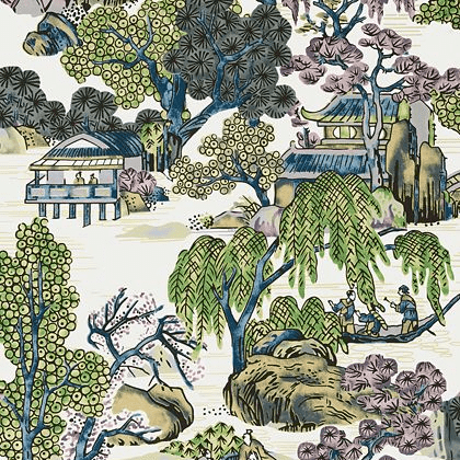 Thibaut Asian Scenic Wallpaper in Purple and Blue