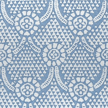 Thibaut Chamomile Fabric in Blue and White