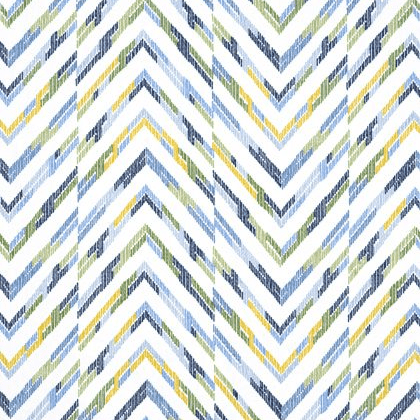 Thibaut Hamilton Embroidery Fabric in Blue & Yellow