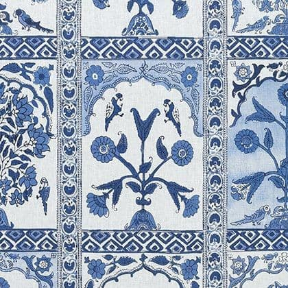 Thibaut Indian Panel Linen in Blue