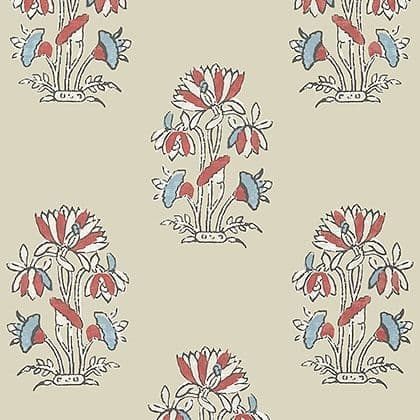 Thibaut Lily Flower Wallpaper in Beige and Sunbaked