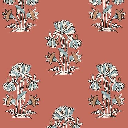 Thibaut Lily Flower Wallpaper in Coral