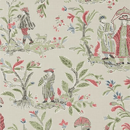 Thibaut Royale Toile Wallpaper in Red