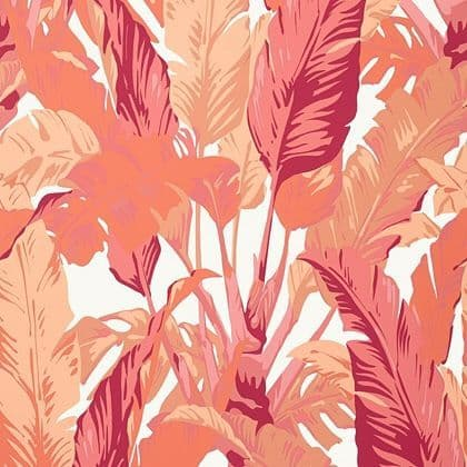 Thibaut Travelers Palm  Wallpaper in Pink and Coral