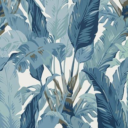 Thibaut Travelers Palm  Wallpaper in Spa Blue