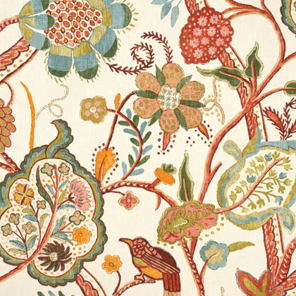 Thibaut Windsor Fabric in Cream and Red