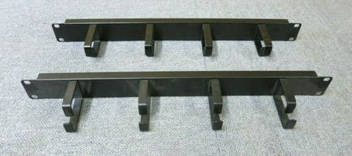 """2 x Black Vertical 4 Ring / Hoops Cabinet Cable Tidy Bar  19"""" 1U Data Rack"""