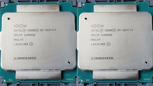 2 x Intel Xeon 14-Core Processor E5-2697V3 2.6GHZ 35MB Cache 9.6GT/S CPU SR1XF