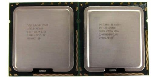 2 x Intel Xeon E5530 Quad Core 2.4GHz/8M/5.86 SLBF7 Socket LGA1366 CPU Processor