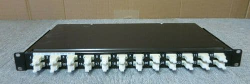 "24 Duplex Port 1U 19"" LC Couplers Fibre Optic Black Tray Patch Panel"