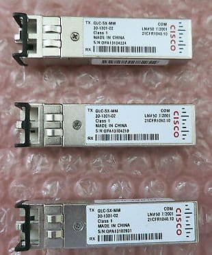 3 x Cisco Original GLC-SX-MM 1000-Base SX Short Reach SFP 30-1301-02