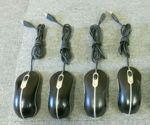 4 x Dell 0MY897 832205-0000 Black USB Wired 4 Button Optical Scroll Wheel Mouse