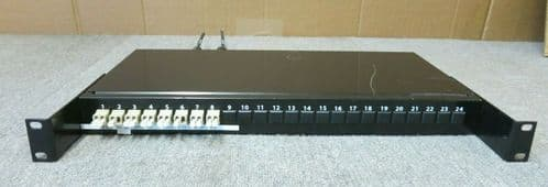 "8 Duplex Port 1U 19"" LC Couplers Fibre Optic Black Tray Patch Panel"
