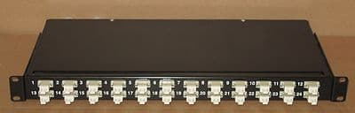 Fibre Channel Fibre Optic Network 24-Port LC Rack Mount Black Patch Panel + Caps