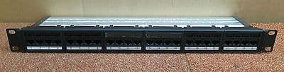 """Global 6 Category 6 24 Port RJ45 1U 19""""  Patch Panel Black With Cable Management"""