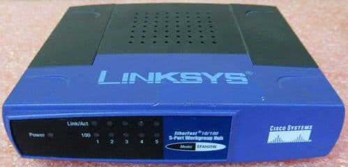 Cisco Linksys EFAHO5W EtherFast 10/100 5- Port Workgroup Hub AC Adapter Included