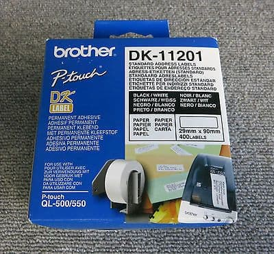 New Brother DK-11201 QL Address Labels Standard 29x90mm White Roll of 400